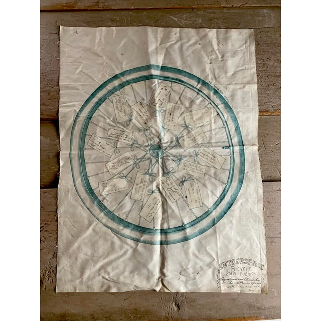 White 1800s Bicycle Hand Signed Pillow Print For Sale - Image 8 of 11