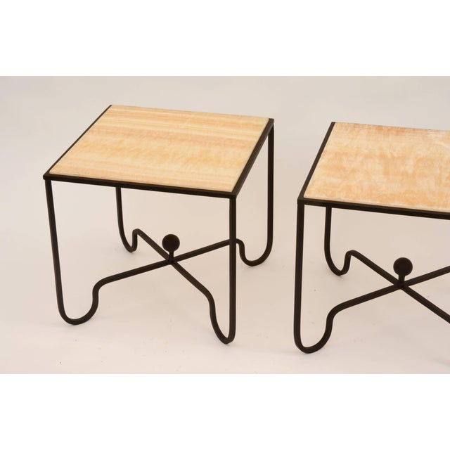 "Modern Contemporary ""Entretoise"" Design Frères Wrought Iron and Onyx Side Tables - a Pair For Sale - Image 3 of 8"
