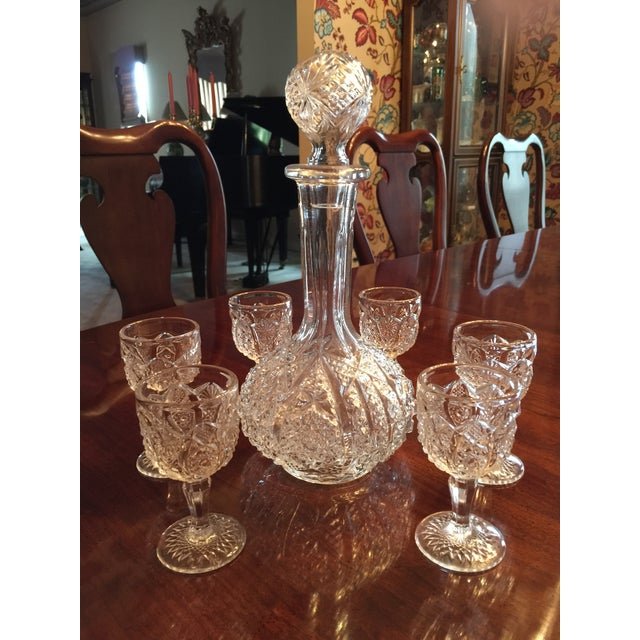 1970s Vintage Pressed Glass Decanter With Goblets Wine Set For Sale - Image 5 of 12
