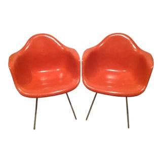 Herman Miller Orange Fiberglass Shell Arm Chairs - a Pair