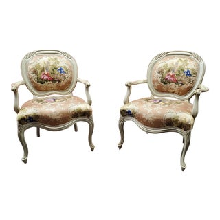 Pink Queen Anne Accent Chairs - A Pair For Sale