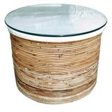 Image of Boho Chic Pencil Reed Bamboo Side Coffee Table With Marble & Glass Top For Sale
