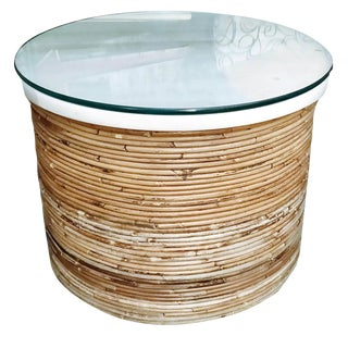 Boho Chic Pencil Reed Bamboo Side Coffee Table With Marble & Glass Top For Sale