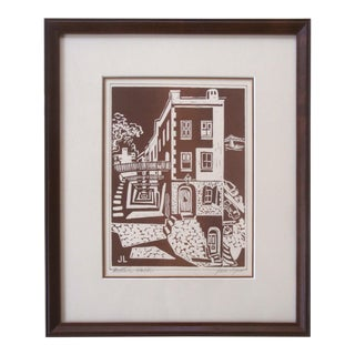 Woodcut Print Architectural Street Scene Midcentury Abstract For Sale