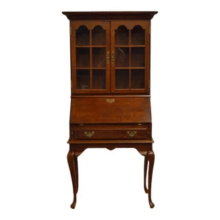 Vintage Queen Anne Cresent Furniture Drop-Front Secretary with Display Hutch For Sale