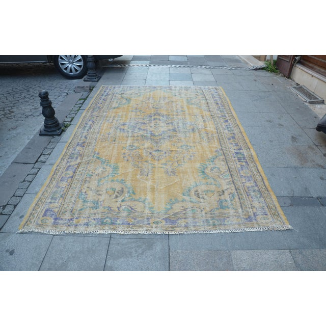 Oushak Area Bohemian Turkish Wool Rug - 6′4″ × 9′5″ - Image 2 of 6