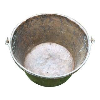 Antique Dove Tailed Copper Cauldron Bucket For Sale