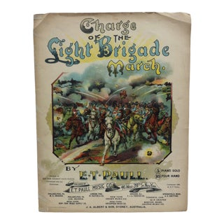 """Late 19th Century Antique """"Charge of the Light Brigade March"""" e.t. Paull Sheet Music Print For Sale"""