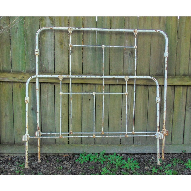 Distressed Antique Iron Headboard & Footboard For Sale - Image 10 of 10