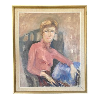 Mid Century Painting - Pink Turtleneck - Signed and Dated 1971 For Sale