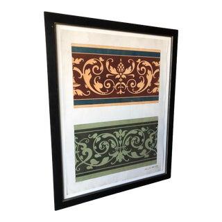 Framed Italian Antique Gouache Painting - Florentine Frieze For Sale
