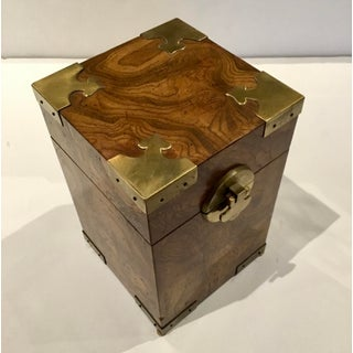 Mid-Century Modern Walnut Burl Wood and Brass Box Preview