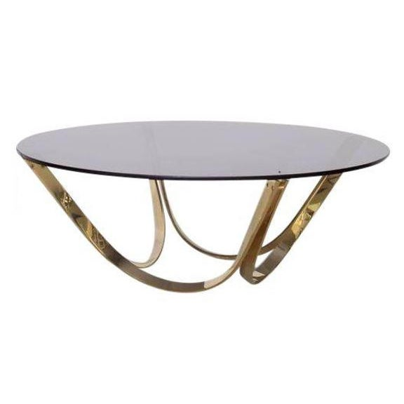 Gold Brass and Smoked Glass Coffee Table by Tri-Mark, circa, 1971 For Sale - Image 8 of 8