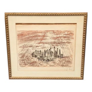 "1960s Vintage Salvador Dali ""Manhattan"" Hand-Signed Lithograph Print For Sale"