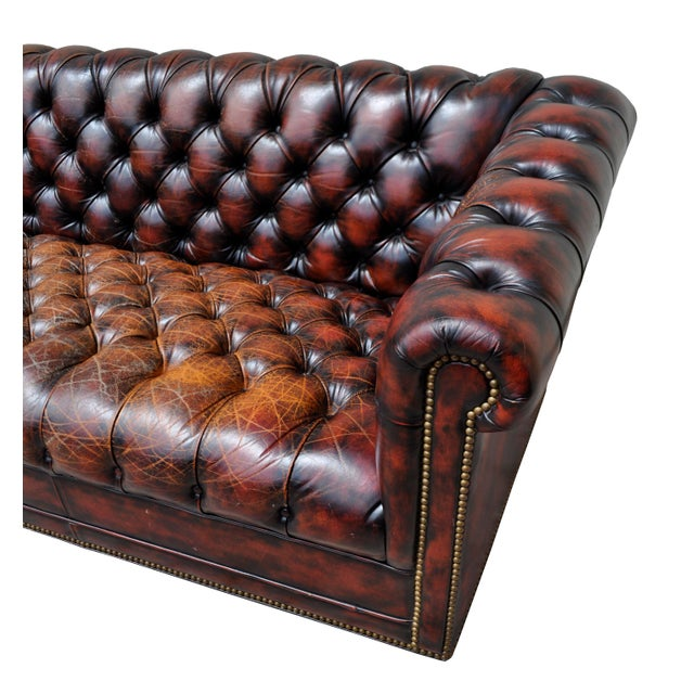 1940's English Red Oxblood Leather Chesterfield Sofa - Image 4 of 8