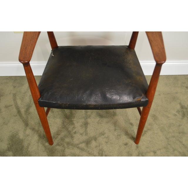 Danish Modern Teak & Black Leather Vintage Arm Chair For Sale - Image 4 of 13