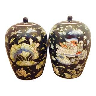 1970s Vintage Chinese Porcelain Black Ginger Jars - a Pair For Sale