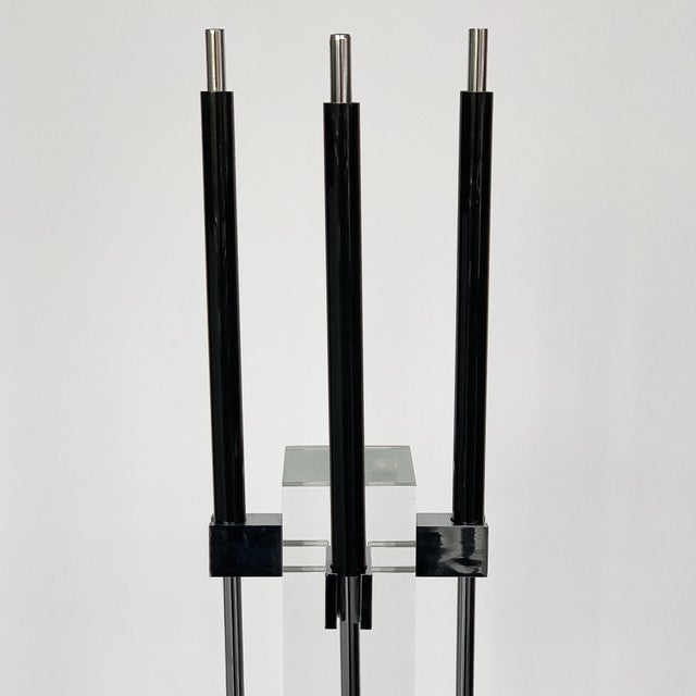 1970s 1970s Albrizzi Lucite and Chrome Fireplace Tools For Sale - Image 5 of 11
