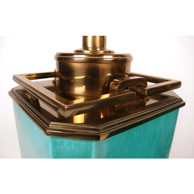Ceramic Jade Blue Ceramic Stiffel Lamps For Sale - Image 7 of 7