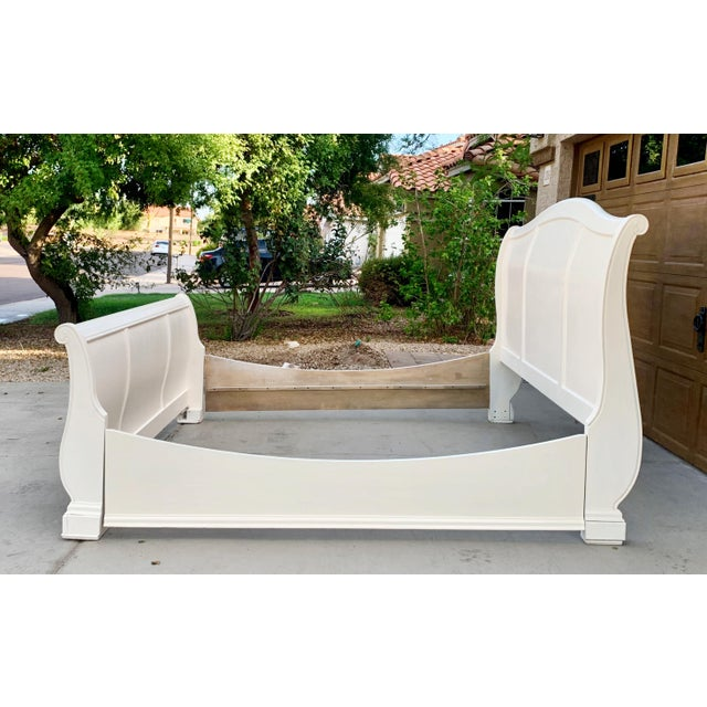 Solid Cherry King Size Sleigh Bed in Linen White For Sale - Image 4 of 8