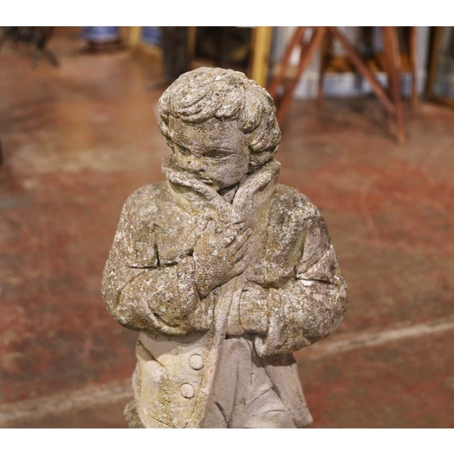 Late 19th Century 19th Century French Outdoor Carved Weathered Stone Young Man Statue For Sale - Image 5 of 7