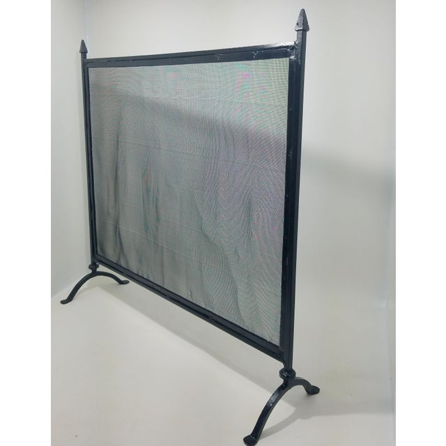 Country Antique Farmhouse Style Wrought Iron Fireplace Screen For Sale - Image 3 of 8