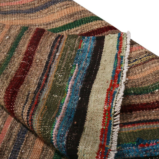 1970s Vintage Geometric Striped Beige Brown and Multicolor Wool Kilim Rug For Sale - Image 5 of 6