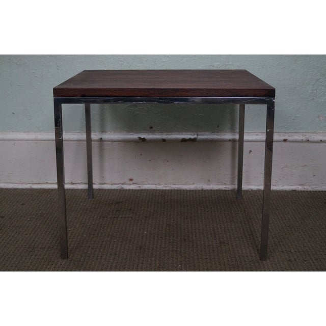 Mid-Century Square Chrome Rosewood Side Table - Image 3 of 10