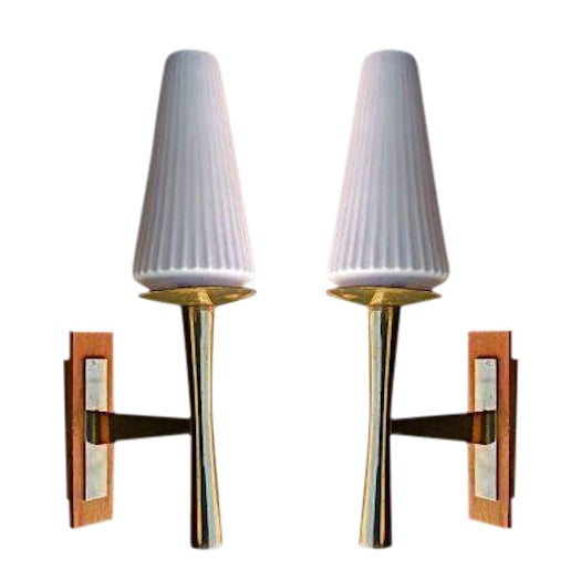 1950s Sconces Attributed to Jacques Quinet - A Pair For Sale - Image 5 of 5