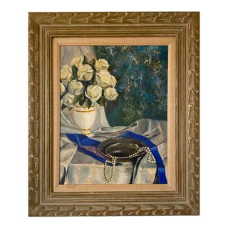 """1970s """"Blue Ribbon and White Roses"""" Still Life Painting, Framed For Sale"""