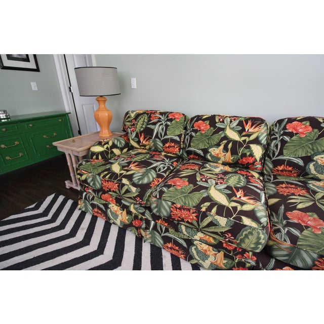 Drexel Heritage Tropical Print Sectional Sofa - Image 6 of 7