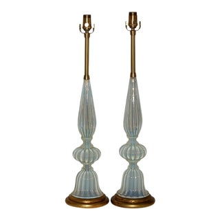 Vintage Murano White Opaline Glass Lamps by Marbro For Sale