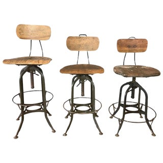 Toledo Industrial Adjustable Height Swivel Stools With Backs, Three Available For Sale
