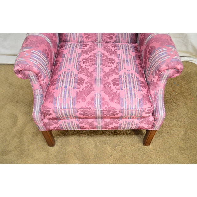 Cherry Wood Ethan Allen Chippendale Style Cherry Clean Upholstered Wing Chair For Sale - Image 7 of 12