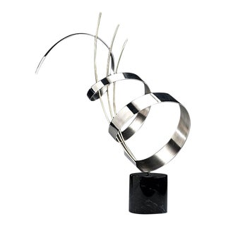 Abstract Chrome Sculpture on Marble base C. Jere signed For Sale