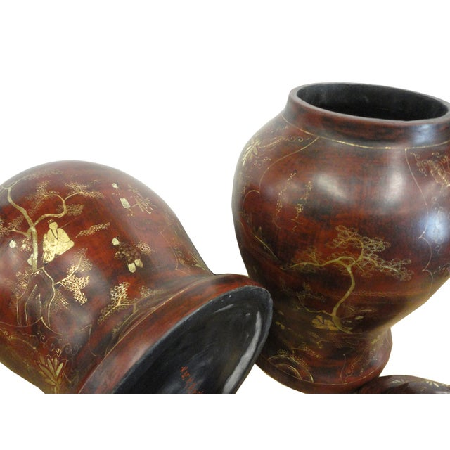 Brown Lacquer Godlen Scenery Jars - Pair - Image 5 of 6