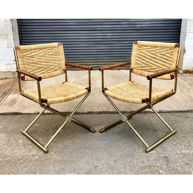 Mid Century Modern, Director Style Armchairs With Rush Seats and Backs - a Pair For Sale - Image 9 of 9