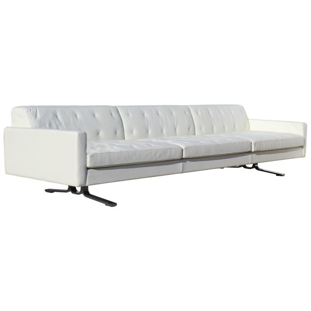 Over-Scale Poltona Frau 'Italy' Leather and Stainless Steel Sofa For Sale - Image 9 of 9
