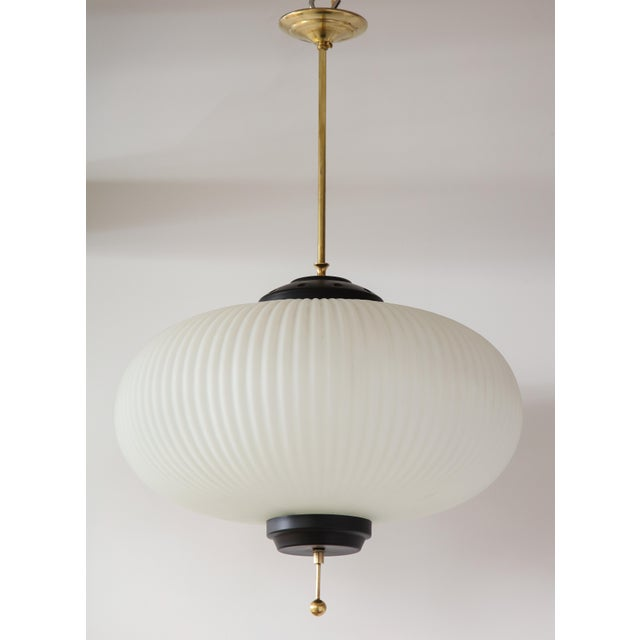 Stilnovo Ribbed Milk Glass Globe Lantern For Sale In New York - Image 6 of 13