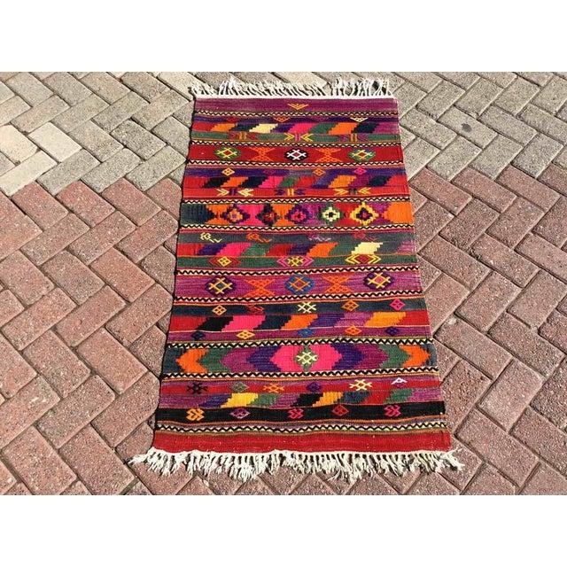 Hot Pink Turkish Kilim Rug For Sale - Image 9 of 9