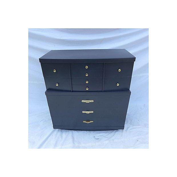 Urban and Urbane step-down Asian-Black Decor Painted Immaculate Tall Dresser. Excellent Construction and brass hardware....