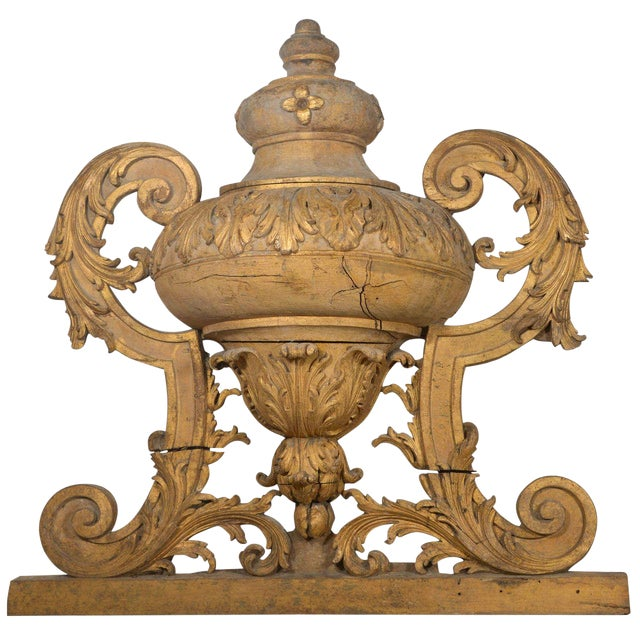 Large 18th Century Louis XVI Carved Urn For Sale