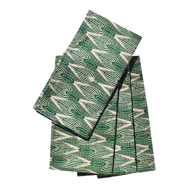African Wax Formal Cloth Dinner Napkins in Green Block Print, Set of 4 For Sale
