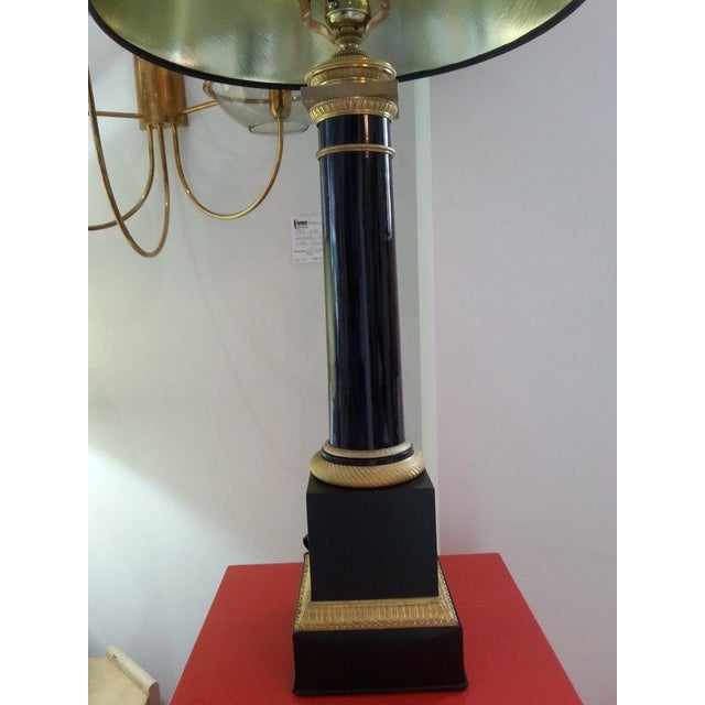 Maison Jansen Black Enamel and Bronze Table Lamp French Empire Revival For Sale - Image 4 of 12