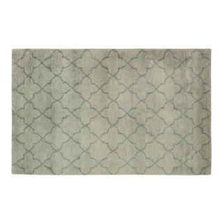 Moroccan Arya Kosmo Light Green & Gray Wool Rug - 4′ × 6′