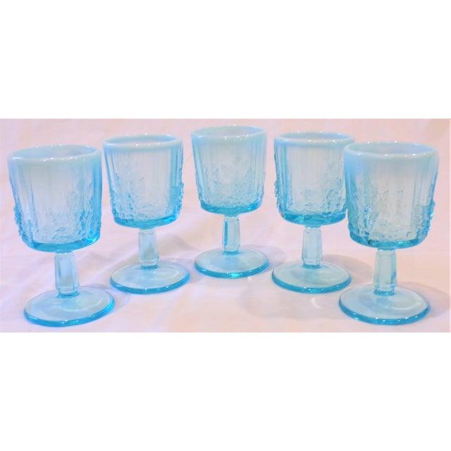 Vintage Opaline Tiffany Blue Wine Glasses - Set of 5 For Sale In Houston - Image 6 of 9