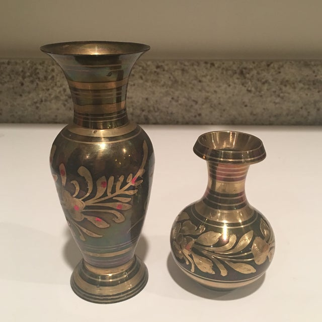 Polished Brass Vases - A Pair For Sale - Image 11 of 11