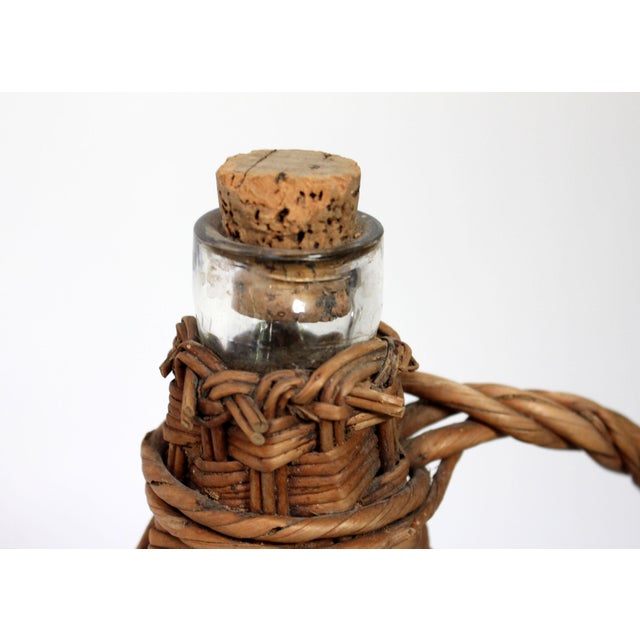 Antique Wicker Covered & Handled Wine Jug With Cork For Sale - Image 4 of 6