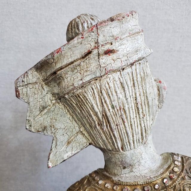 Vintage Thai Carved Wood Sculptural Statue For Sale - Image 11 of 13
