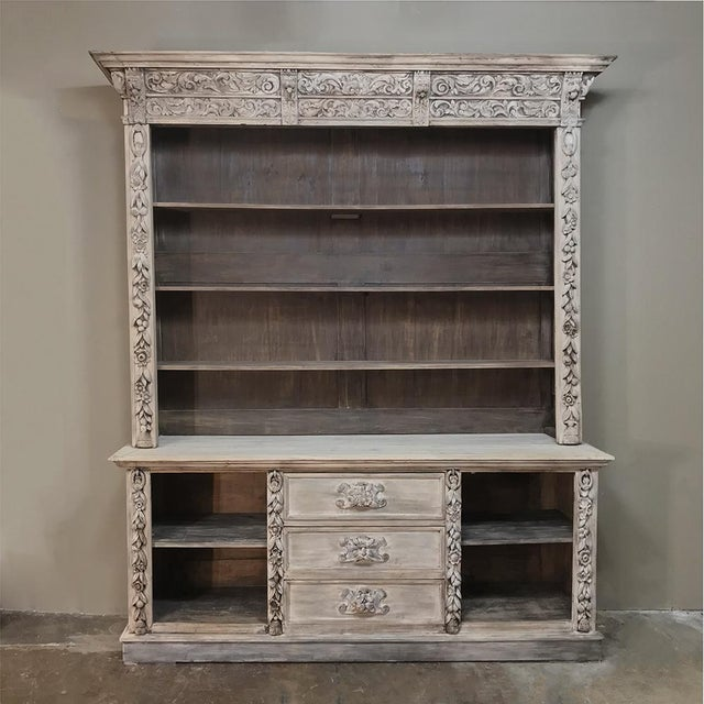 19th Century Grand Hand Carved Stripped Oak English Bookcase For Sale - Image 12 of 12